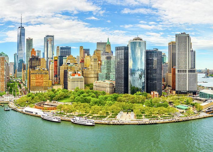New York Greeting Card featuring the photograph Aerial Panorama Of Downtown New York Skyline by Mihai Andritoiu