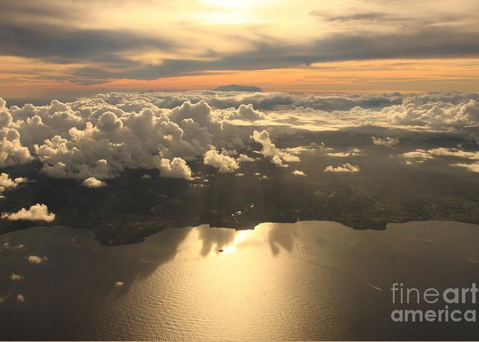 Harmony Greeting Card featuring the photograph Aerial View Sunset Over Antigua In The by Achim Baque