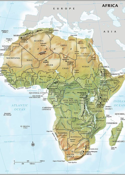 Topography Greeting Card featuring the digital art Africa Continent Map With Relief by Globe Turner, Llc