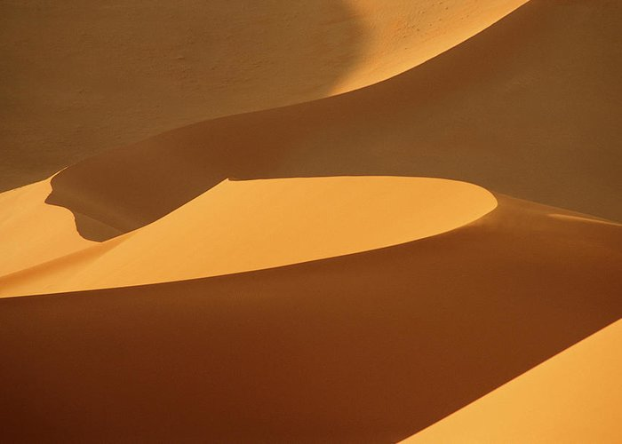 Shadow Greeting Card featuring the photograph Africa, Namibia, Sand Dunes, Full Frame by Peter Adams