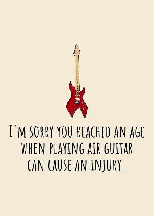Greeting Card featuring the digital art Air Guitar Birthday Card - Sarcasm Birthday Card - Guitar Player Card - Guitarist Greeting Card - Gr by Joey Lott