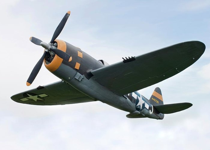 Air Attack Greeting Card featuring the photograph Airplane P-47 Thunderbolt From World by Okrad