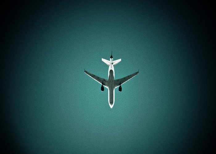 Outdoors Greeting Card featuring the photograph Airplane Silhouette by Miikka S Luotio