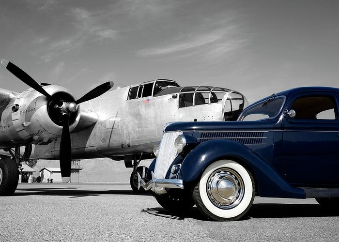 Propeller Greeting Card featuring the photograph Airplanes And Cars by Sierrarat