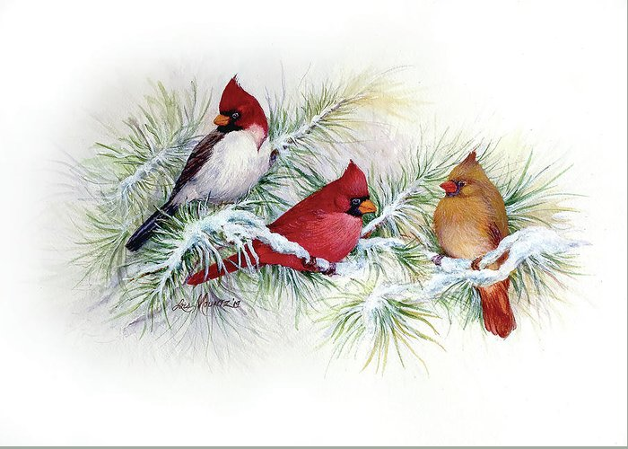 Birds Greeting Card featuring the painting Albino Visitor by Lois Mountz