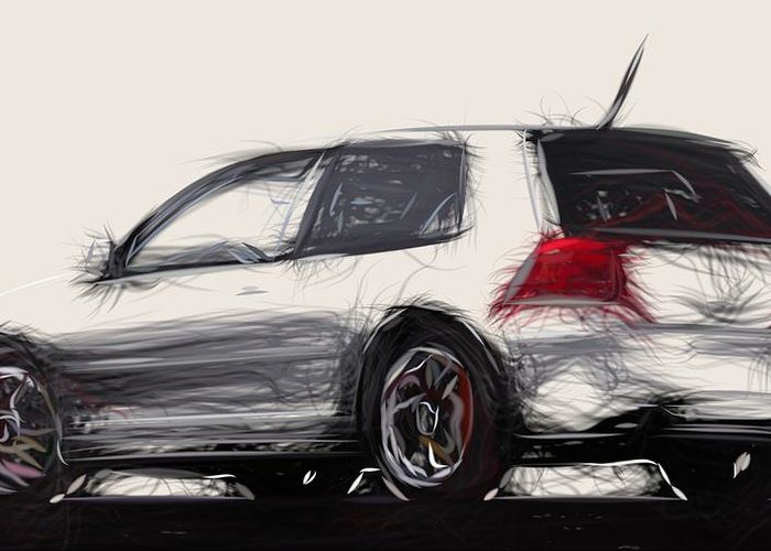 Alfa Greeting Card featuring the digital art Alfa Romeo Gtv Draw by CarsToon Concept