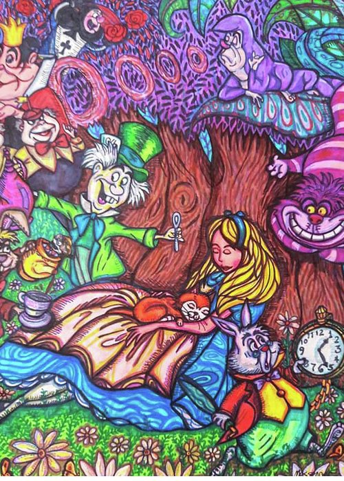 Sharpies Greeting Card featuring the drawing Alice In Wonderland by Janine Messenger