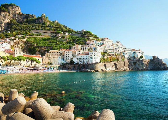 Tyrrhenian Sea Greeting Card featuring the photograph Amalfi Coast, Italy by Brzozowska