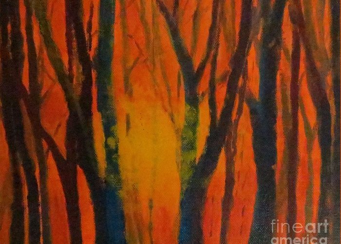 Amber Greeting Card featuring the painting Amber Tree by Caroline Cunningham
