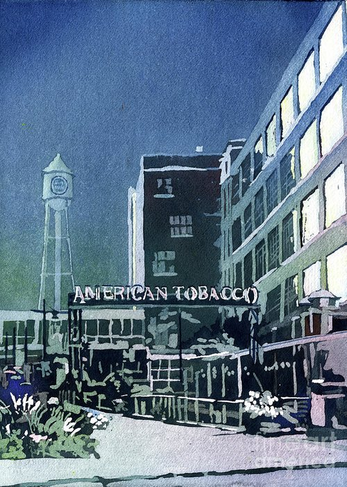 Street Scene Greeting Card featuring the painting American Tobacco Campus- Durham by Ryan Fox