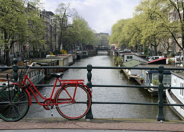 Row House Greeting Card featuring the photograph Amsterdam City Scene by W-ings