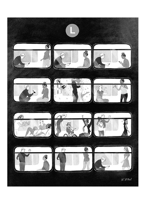 Train Greeting Card featuring the drawing An L Train Love Story by Will McPhail