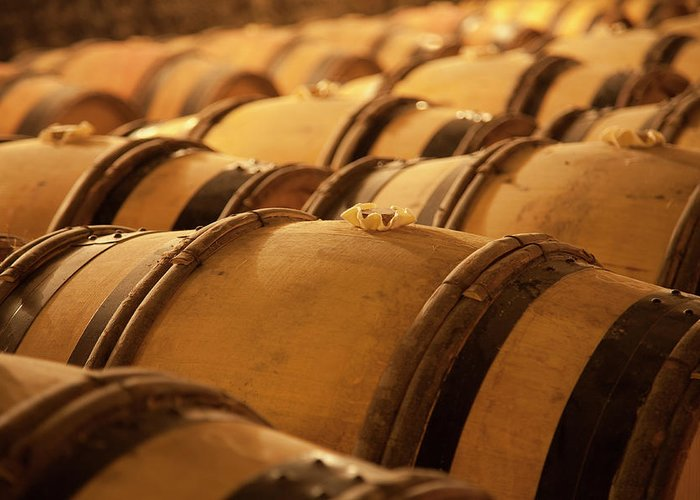 Fermenting Greeting Card featuring the photograph An Old Wine Cellar Full Of Barrels by Brasil2