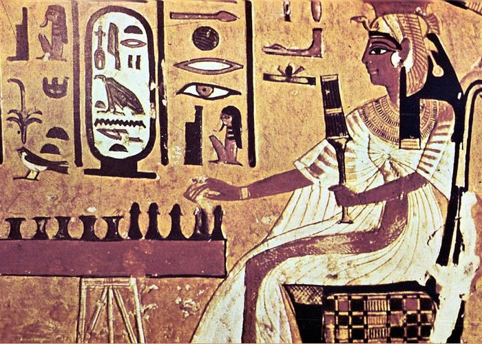 Human Representation Greeting Card featuring the photograph Ancient Egyptian Queen Nefetari Playing by Photos.com