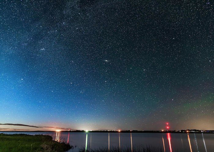 Alberta Greeting Card featuring the photograph Andromeda Galaxy Rising Over Mcgregor by Alan Dyer