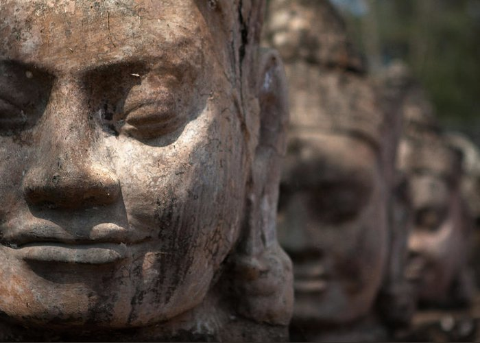 Art Greeting Card featuring the photograph Angkor Warriors by Romulo Rejon