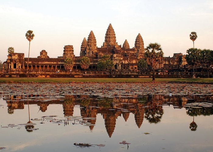 Tranquility Greeting Card featuring the photograph Angkor Wat - Siem Reap - Cambodia by By Lionel Arnould