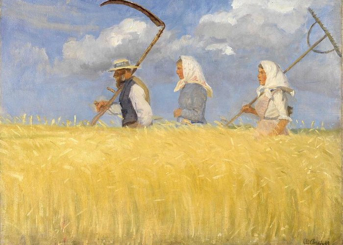 Harvest Greeting Card featuring the painting Anna Ancher - Harvesters by Celestial Images