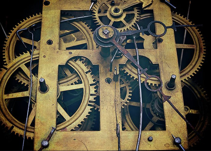 Gear Greeting Card featuring the photograph Antique Clock Gears, Cog And Parts by Melissa Ross