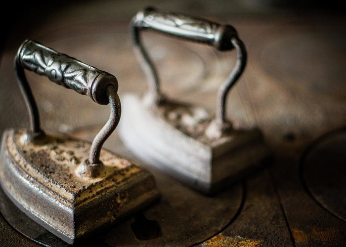 Two Objects Greeting Card featuring the photograph Antique Irons by Jimss