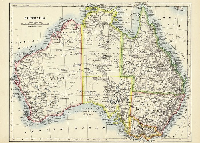 19th Century Style Greeting Card featuring the photograph Antique Map Of Australia by Nicholas Free