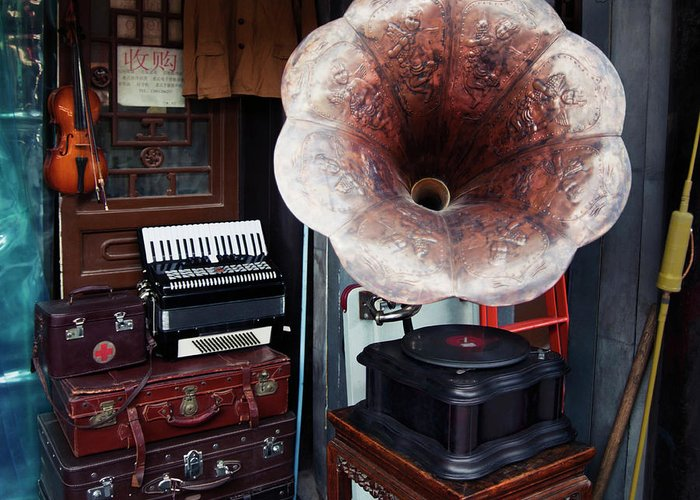 Flea Market Greeting Card featuring the photograph Antique Victrola In Panjiayuan Flea by Design Pics / Keith Levit