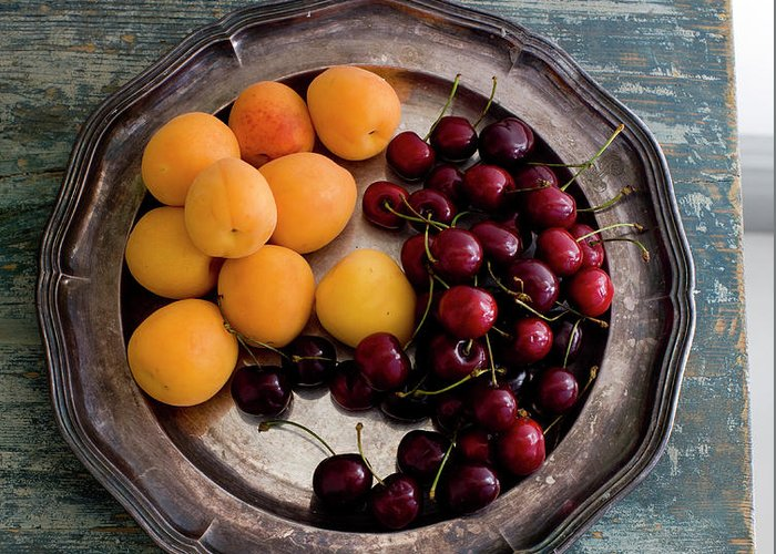 Tranquility Greeting Card featuring the photograph Apricots And Cherries On Silver Tray by Bjurling, Hans