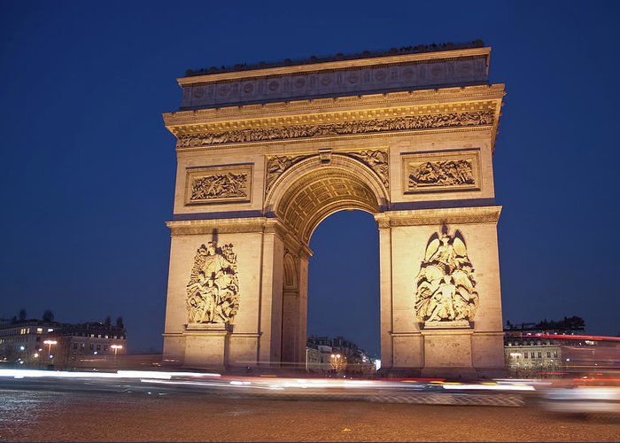 Arch Greeting Card featuring the photograph Arc De Triomphe, Paris, France by David Min