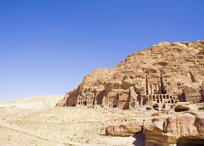 Scenics Greeting Card featuring the photograph Archaeological Remains Of Petra by Gallo Images