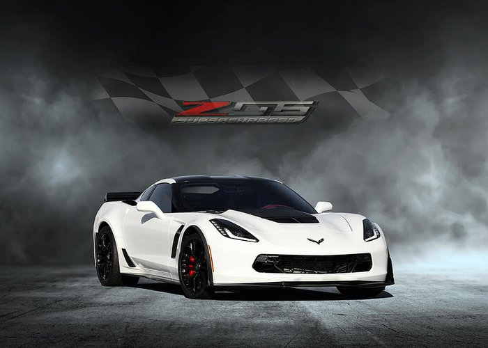 Chevrolet Greeting Card featuring the digital art Arctic White Z06 by Peter Chilelli