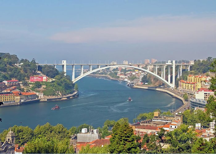 Built Structure Greeting Card featuring the photograph Arrábida Bridge Over River by Cmanuel Photography - Portugal