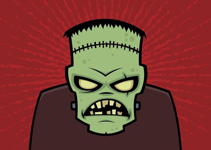 Frankenstein Greeting Card featuring the digital art Frankenstein Monster by John Schwegel