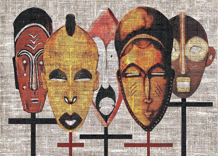 African Masks Greeting Card featuring the digital art Kabila Masks by Regina Wyatt