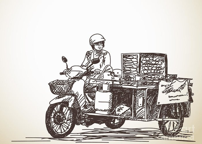 Seller Greeting Card featuring the photograph Asian Street Food On Motorbike, Hand by Art Of Line