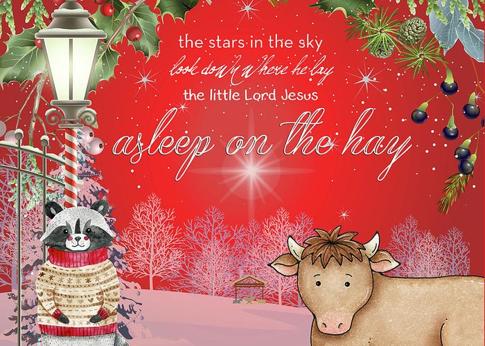 Holiday Greeting Card featuring the digital art Asleep On The Hay by Claire Tingen