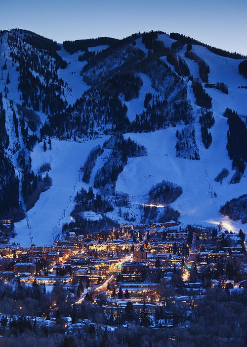 Aspen Greeting Card featuring the photograph Aspen Mountain, Winter by Walter Bibikow