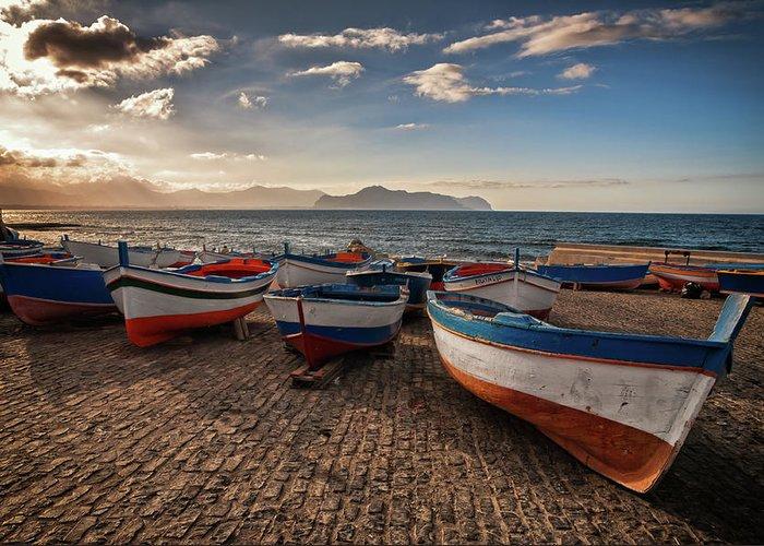 Sicily Greeting Card featuring the photograph Aspra Boatyard by Fabio Montalto