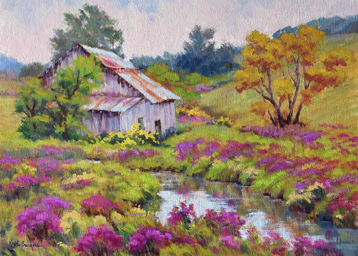 Impressionism Greeting Card featuring the painting Aster Time by Keith Burgess