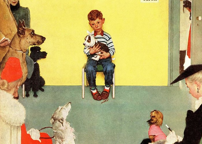 Boy Greeting Card featuring the drawing At The Vets by Norman Rockwell