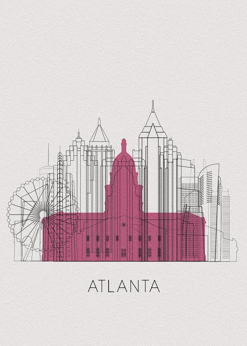 Atlanta Greeting Card featuring the digital art Atlanta Landmarks by Inspirowl Design