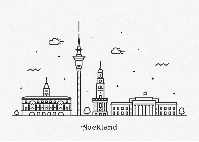 Auckland Greeting Card featuring the drawing Auckland Cityscape Travel Poster by Inspirowl Design
