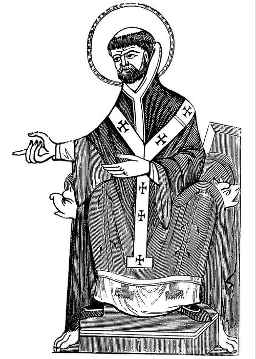 Saint Augustine Greeting Card featuring the drawing Augustine Of Hippo by English School