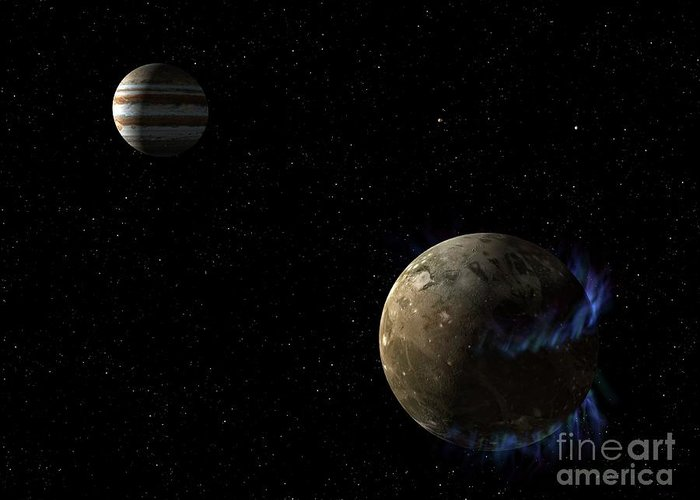 Ganymede Greeting Card featuring the photograph Aurorae On The Moon Of Jupiter by Nasa/esa/stsci/science Photo Library