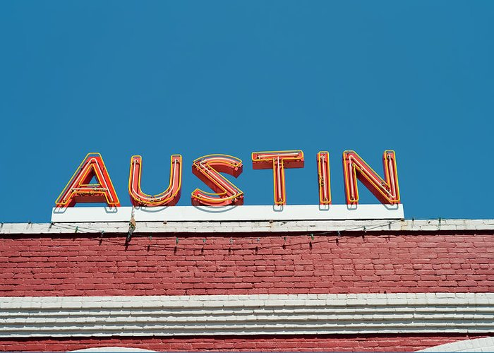 Sunlight Greeting Card featuring the photograph Austin Neon Sign by Austinartist