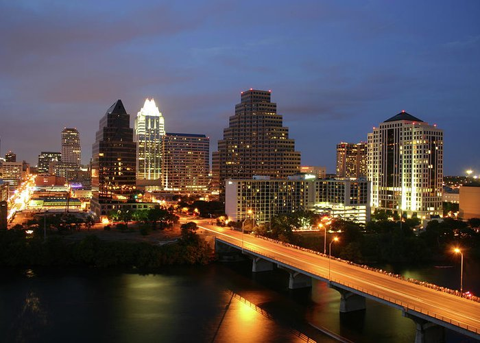 Water's Edge Greeting Card featuring the photograph Austin Texas Skyline - Unique by Xjben