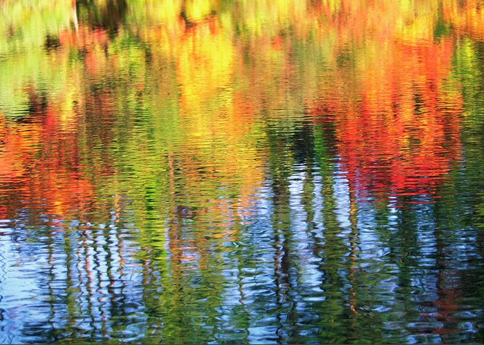 Outdoors Greeting Card featuring the photograph Autumn Color Reflection by Ooyoo