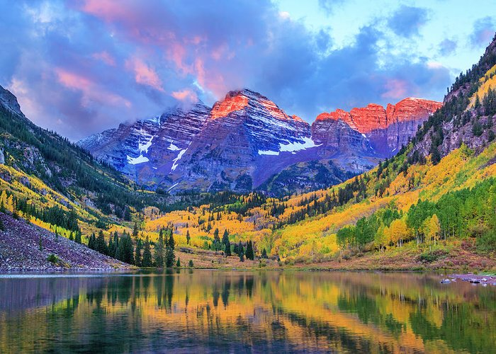 Scenics Greeting Card featuring the photograph Autumn Colors At Maroon Bells And Lake by Dszc