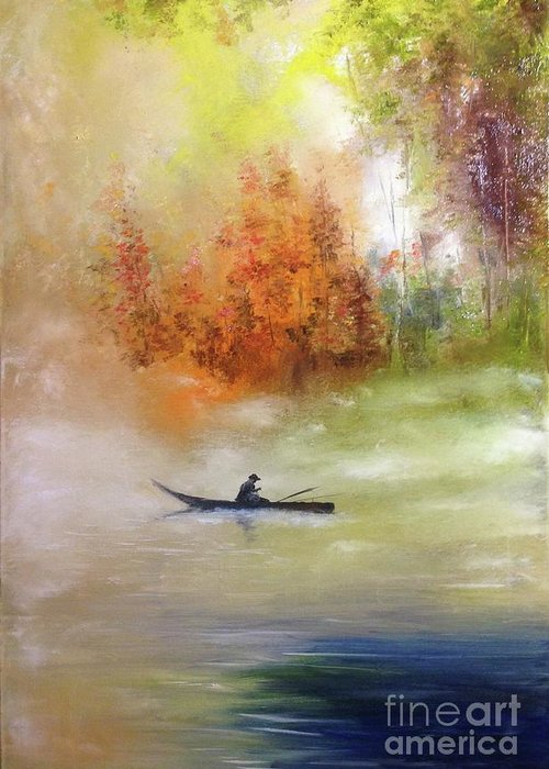 Autumn Greeting Card featuring the painting Autumn dawning, Autumn colours, Fisherman on an autumn lake by Lizzy Forrester