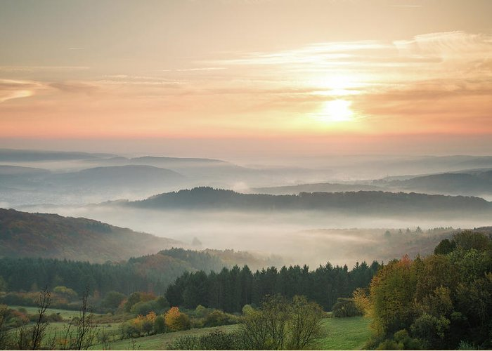 Scenics Greeting Card featuring the photograph Autumn Foggy Sunrise by Marcoschmidt.net
