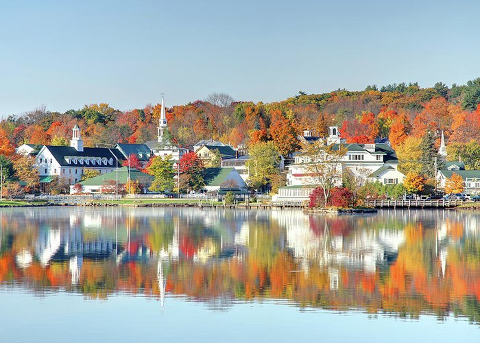 Scenics Greeting Card featuring the photograph Autumn On Lake Winnipesaukee by Denistangneyjr